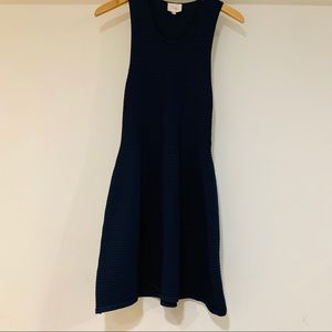 Parker NY fit and flare navy blue dress